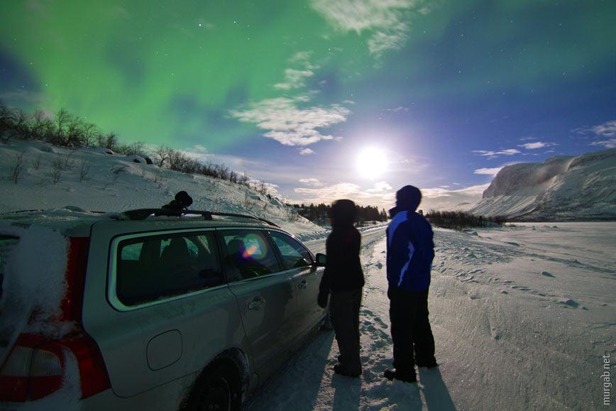 Северное сияние в Национальном парке Стура-Шёфаллет, Швеция